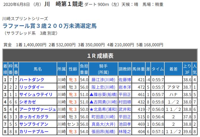 川崎競馬900m戦の一例